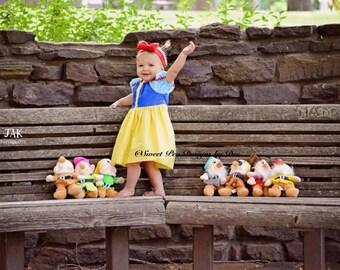 Snow White inspired dress, girls costume, baby costume, photo shoot dress, themed birthday party dress,  girls yellow dress, peasant dress,