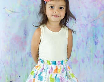 Easter bunny skirt, baby skirt, girls bunny skirt,photo shoot, girls clothing,  toddler skirt, yellow skirt, little girls skirt, Spring,