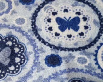 Blue Butterflies Antipill Fleece Fabric (1.5 yards)