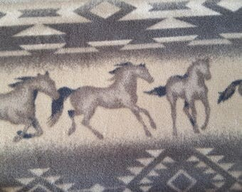 Running Horses Stripe Fleece Fabric sold by the yard