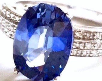 8.9K Appraisal 4.85 TCW VVS Ceylon blue Sapphire Diamonds Engagement 14k ring
