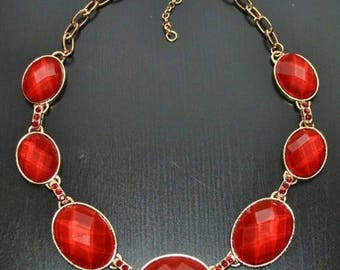 Red Necklace, glass beaded necklace set, Bib, vintage style, crystals, handmade gift idea, gift for her.