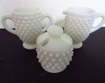 Vintage Milkglass Hobnail Sugar, Creamer, Vase Set of Three with Lid