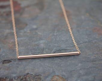 Large plain bar necklace
