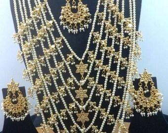 Kundan Rani Haar Necklace Set/Bridal Jewelry/Kundan jewelry/ethnic jewelry/indian jewelry/bridal set/wedding set