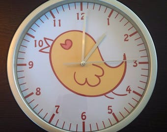 clock wall child yellow chick bird motif
