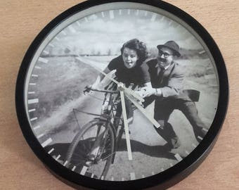 cyclist young pattern vintage wall clock learning to biking 50 years