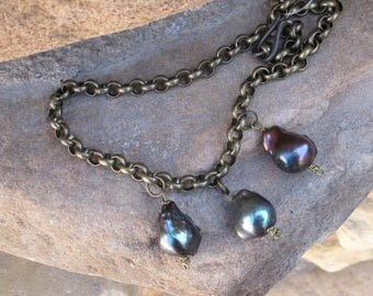 Blue Fresh Water Pearls Rolo Chain