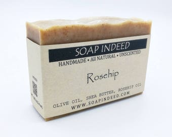 Rosehip Olive oil & Shea butter soap - unscented. All natural soap, handmade soap, cold process, vegan, olive oil soap