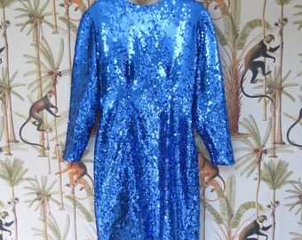 Vintage long sleeve blue sequin dress with cut out back