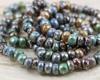 NEW! 31/0 Moon Picasso Fancy Mix Czech Seed Beads - 50grams - spectacular colors, fab cosmic look, silvery Picasso finish, crow beads