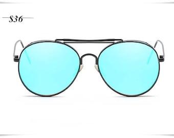 Blue  lens sunglasses men 80's vintage sunglasses women summer new oldstock