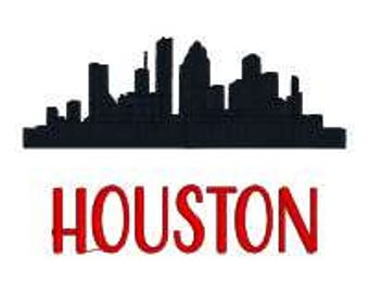 BUY 2 GET 1 FREE - Houston Skyline Silhouette Machine Embroidery Design in 2 Sizes:  4x4 and 5x7