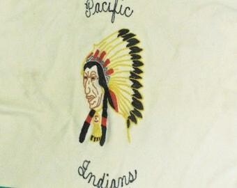"Vtg Jack Frost Striped Wool Blanket ""Pacific Indians"" Utah Woolen Mills 50 x 70"