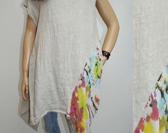 40 42 44 46 / 12 14 16 18 Italian Linen Lagenlook Tunic Dress Asymmetric Graffiti