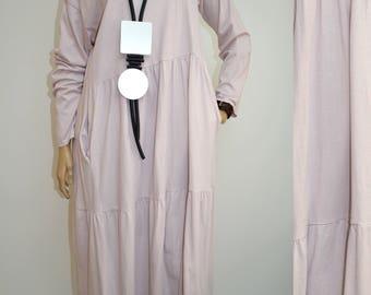 44 46 48 50 / 16 18 20 22 Italian 100% Cotton Lagenlook Dress Long Tunic Plus Size Boho