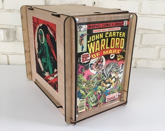John Carter Warlord of Mars #1 Issue Comic Book by Edgar Rice Burroughs with wooden comic box - gift for guy, father, brother, boyfriend