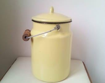 Yellow milk can - Kitchenalia - vintage Pastel yellow enamel milk can with lid  enamelware - milk pail pot