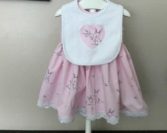 Baby 1st Easter dress set, baby rabbit, dribble bib, white lacey trim, baby shower gift, cute bunny rabbit, pom pom socks