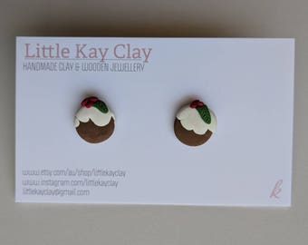 Handmade Christmas Pudding Clay Earrings