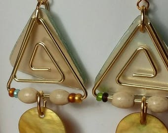 Triangle earrings CD and paper clip