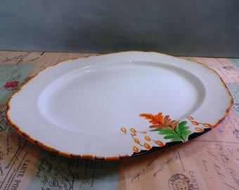 Coronet Ware Vintage  Meat Plate Serving Plate Platter 1930s Art Deco Handpainted Tableware Parrot & Co