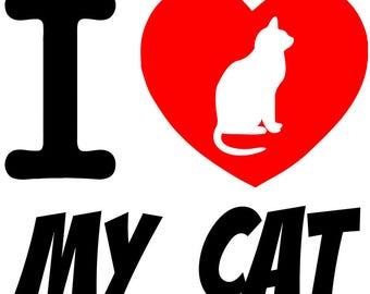 I Love My Cat Heart 3.5 inch Sticker Vinyl Decal Stickers