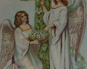 ON SALE till 7/28 Two Angels With Pretty Cross of Jonquils Antiuq Easter Postcard
