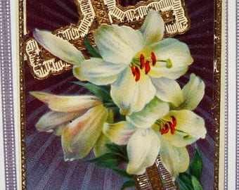 60% off till 8/15 Antique Easter Postcard of Cross and Easter Lilies On Purple Background