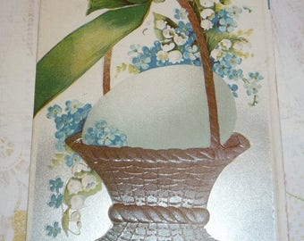 60% off till 8/15 Egg In a Basket With Lilies of the Valley and Forget-Me-Nots Antique Easter Postcard