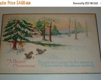 60% off till 8/15 Cute Squirrels on a Snowy Winter Scene Vintage 1920s Christmas Postcard