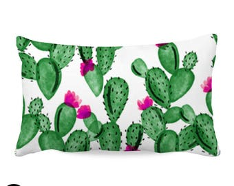 Watercolor Cactus and Hot Pink Nursery Throw Pillow Cover | Cactus Throw Pillow Cover | Girl Pillow Cover