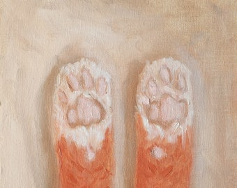 Kitty Toes Original Framed Oil Painting