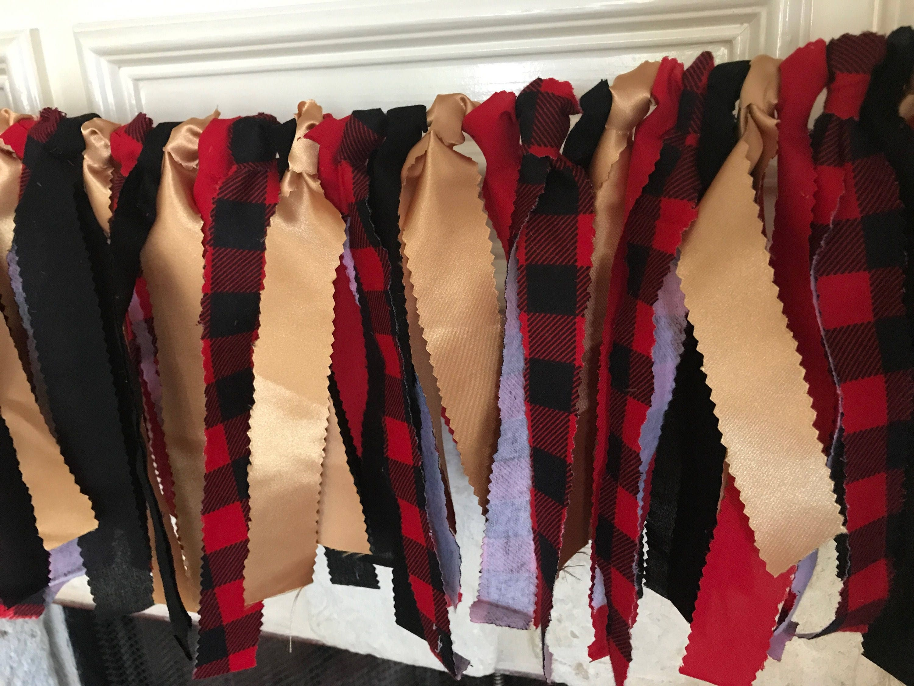 Buffalo plaid garland red black gold banner buffalo plaid party
