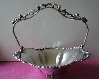 Silver Brides Basket Quadruple Silver Plate with Ornate Handle 100+ Years Old Candy Dish Nut Bowl Fancy Soap Dish on Three Legs Sweet Gift