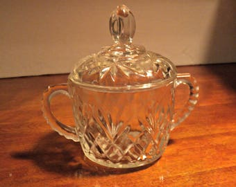 Sugar Bowl with Lid by Anchor Hocking in Pineapple Pattern Double Handles Clear Prescut Pressed Glass Sweet Candy Dish Vintage Dining Decor