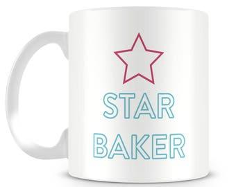 Great British Bake inspired novelty mug design. STAR BAKER. Personalised gift