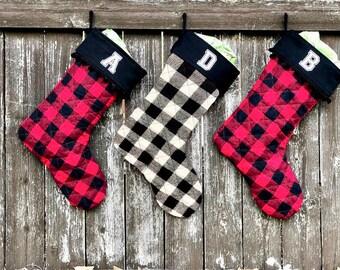 Personalized Buffalo Plaid Christmas Stockings