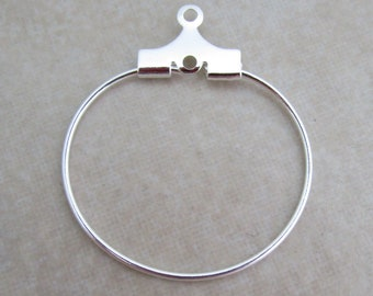 50 silver beading hoops 20mm