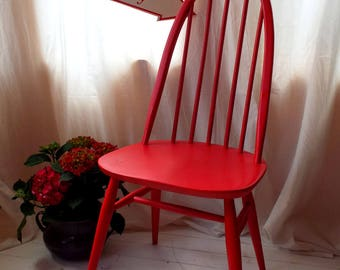 Ercol Quaker Dining Chair in Red satin finish