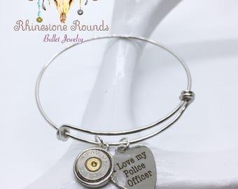 Bullet Casing/Love police Stackable Bangle Bracelet