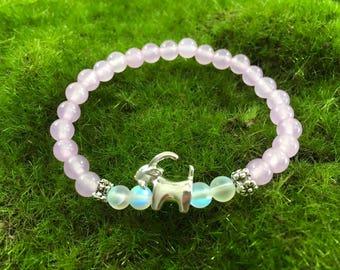 Beautiful Lavender Jade Goat bracelet - stretch yoga bracelet - portion of proceeds goes to Goats of Anarchy
