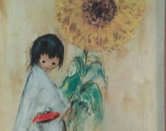 Ted De Grazia painting boy with sunflower