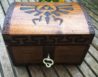 Cute lockable ring box, legend of zelda inspired, triforce, breath of the wild, keepsake box, secret box