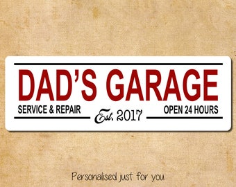 Personalised Dads Garage Metal Sign 10x30cm Customise with Year, Wall Art Man Cave Garage Workshop Birthday Christmas Gift