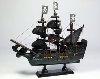 Ring Bearer or pageboy gift, personalized small model pirate ship, nautical theme.  17cm, personalised gift.