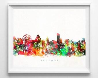 Belfast Skyline, Ireland Print, Belfast Poster, Cityscape, Bedroom Decor, Watercolor Painting, Wall Art, City Art, Mothers Day Gift