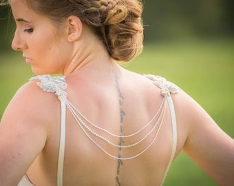 Chain Back Necklace - Shoulder Back Necklace - Bridal Back Necklace - Back Necklace Shoulder Appliqués - Shoulder Jewellery - Back Jewellery