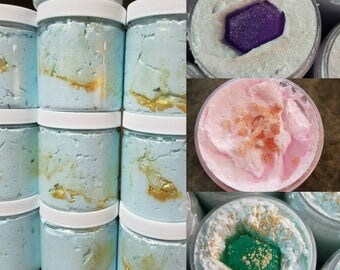 48, 96 Whipped Sugar Scrubs 8oz Jars Favors or Wholesale