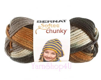 STILLNESS. Bernat Softee Chunky Super Bulky Yarn. A earthy shades could be worked up into big excellent man projects. Brown, tan, copper.